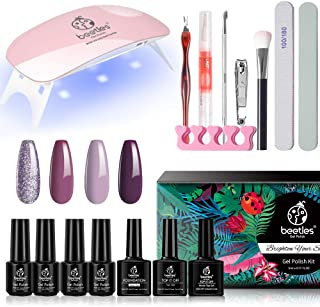 Beetles On The Go Fashionista Gel Nail Polish Starter Kit with Protable Mini UV/LED Light Nail Lamp Glossy MatteTop and Base Coat Required, Soak Off Gel Polish Set Autumn Winter 4 Colors Manicure Tool