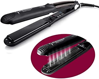 USHOW Multi-Functional Professional Steam Spray Hair Straightener Ceramic Hair Protection Water Not Hurt Salon Vapor Heater Hair Straightening Flat Iron with Anion Care Black
