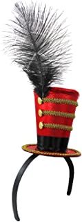 Deluxe Ringmaster Mini Top Hat on Headband, Red/Black/Gold, One Size