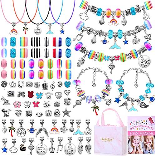 DIY Bracelet Making Kit for Girls, Thrilez 97Pcs Charm Bracelets Kit with Beads, Pendant Charms, Bracelets and Necklace String for Bracelets Craft & Necklace Making, Gift Idea for Teen Girls