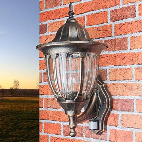 Nostalgische XXL Aussen Wandleuchte mit Bewegungsmelder Sensor in Antik Kupfer mit E27 Fassung IP44 rustikal große Aussenleuchte Wandlampe Hof Garten