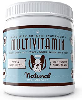 Natural Dog Company - Daily Multivitamin Supplement for All Ages | Supports Healthy Coat, Strong Hip and Joints, with Omega 3s & Digestive Enzymes | Duck & Sweet Potato Chewable for Dogs - 90 Chews