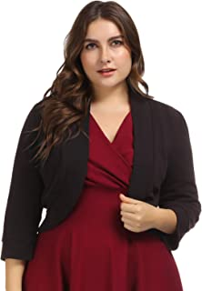 Shrug Sweaters for Women Plus Size 3/4 Sleeve Open Front Cardigan