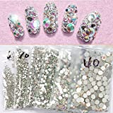 Top Quality SS3 AB 1440pcs Crystal AB Color Super Shiny Nail Art Rhinestones Flat Back Non Hotfix Strass Stone 3D Nail Decorations Gems Accessories Manicure