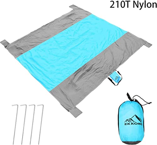EKKONG Sandfree Outdoor Beach Blanket – Oversized 9′ x 10′ Compact Super Light Beach Mat, Soft and Quick Drying Nylon, Perfect for Travel, Festivals, Hiking & Camping – with Corner Pockets