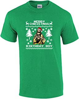 Trenz Shirt Company Merry Christmas Birthday Boy Jesus Holiday Graphic Adult T-Shirt