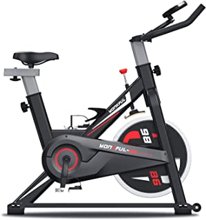 YONKFUL スピンバイク フィットネスバイク 無段階負荷調節 本格的ホイール16kg エアロバイク ハンドル&サドル調節可能静音 デジタルメーター 移動キャスター付き 室内用 トレーニング ダイエット器具 日本語取説