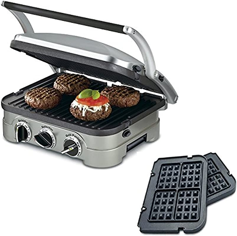 Cuisinart 5 In 1 Grill Griddler Panini Maker Bundle With Waffle Attachment GR 4N Includes Grill And Waffle Plates Renewed