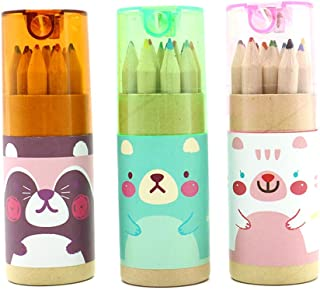 Pomeat 3 Pack Cute Cartoon Bear Mini Drawing Colored Pencils with Sharpener, 3.5