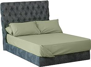 طقم ملاية سرير سادة من المأمون، 4 قطع - 240 × 260 سم، زيتي