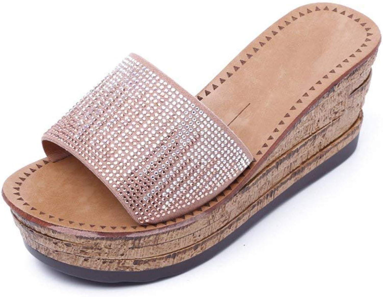 HhGold Cool Slope Mit Hausschuhe Weibliche Sommerkleidung Stilvolle Dicke Untere Flip-Flops Sandalen Strass Hausschuhe (Farbe   1, Größe   EU39 UK6.5 CN40)  | Kostengünstiger