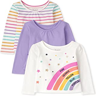 The Children's Place Baby Toddler Girl Long Sleeve Rainbow Top 3-Pack
