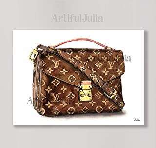 af1b490d39e3 Louis Vuitton bag art print of watercolor painting