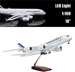 """24-Hours 18""""1:160 Scale Hobby Airplane France A380 Plane Model with LED Light(Touch or Sound Control) for Business Gift"""