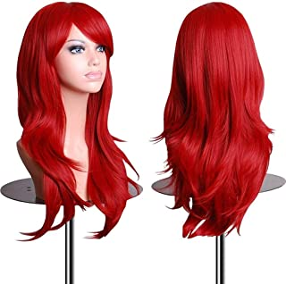 28 Inch Women's Red Long Wavy Wig for Women Halloween Ariel Cosplay Wigs (Red)