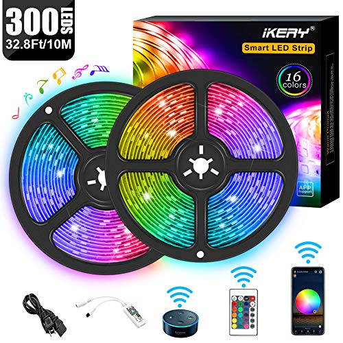 WiFi LED Strip Lights 32.8ft, Voice Control Work with Alexa Echo Google Assistant, Smart App Control 5050 RGB Light Strip Kits Music Sync for Home Garden Party Bar, IP65 Waterproof