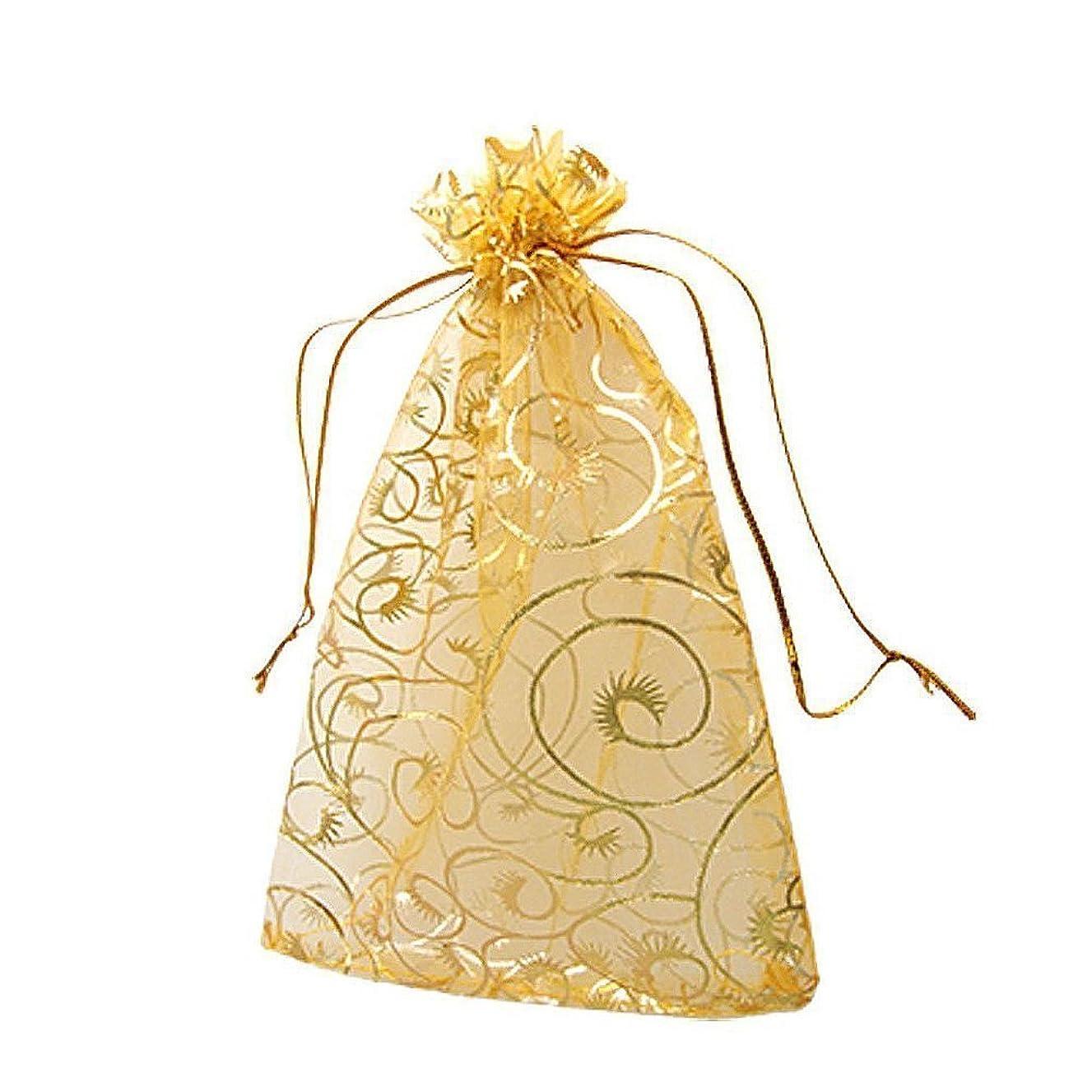 100pcs 3.9''x4.7'' Golden Champagne Eyelash Organza Drawstring Pouches Jewelry Party Wedding Favor Wedding Favor Gift Candy Bags by YYaaloa (3.9''x4.7'' Golden Champagne Eyelash)