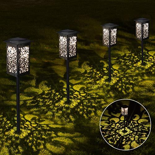 Solar Gartenleuchte für Außen,OxyLED 4 Stück 2200mAh Groß Solar Gartenleuchte IPX5 Wasserdicht Automatisch Ein/Aus mit Erdspieß Kunststoff,Solarlampen für Garten Patio Rasen Terrasse(Warmweiß)
