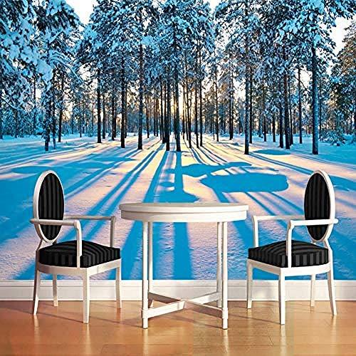 Fotobehang mode sneeuw landschap bos zonsopgang 3D muurschildering woonkamer slaapkamer achtergrond muur wooncultuur_460 cm (w) x280 cm (h) (15'1