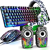 Gaming Keyboard and Mouse,5 in 1 Gaming Combo,12W HD Sound Speakers Rainbow LED Backlit Wired Keyboard,2400DPI 6 Button Optical Gaming Mouse,Gaming Headset,Gaming Mouse Pad for PC Gaming