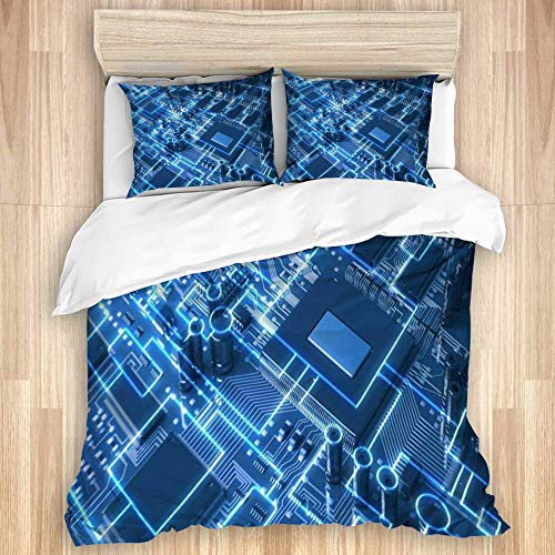 Yoyon Duvet Cover,Mother Fantasy Circuit Board Top View Chip Industrial Technology Digital Circuitry Tech Future,Quality Microfiber Bedding Set Ultra Softness Modern Design