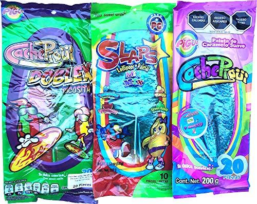 Cachepigui X2 & Slaps Lollipop Candy 4 Flavors Tamerind Watermelon Mango Green Apple (50 pcs Total) - Mix Brand and Different Flavors!!!