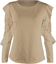 UONQD Woman Women's Solid Long Sleeve Lace Stitching O-Neck T-Shirt Pullover Tops Blouse