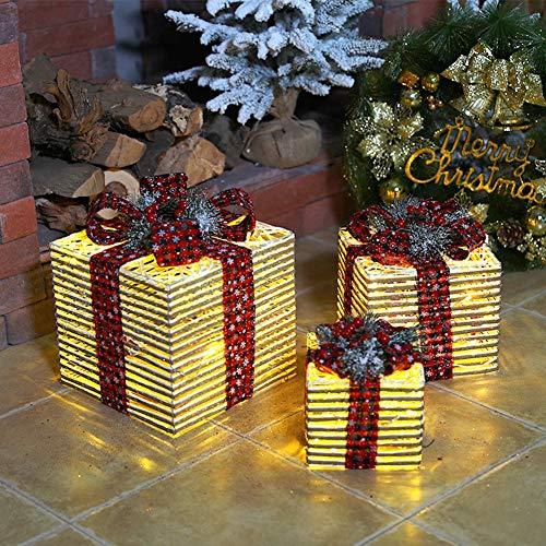 LIPETLI Juego de 3, luz Blanca CáLida en Caja de Regalo Cinta de áRbol de Navidad, Cajas Preiluminadas para DecoracióN NavideñA,