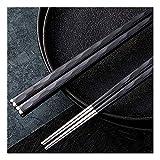 Chopsticks De Metal Reutilizables,Palillo De Acero Inoxidable De Grado Alimenticio 5 Pares para Sushi Noodle Rice Hot Pot Ligero Viaje Fácil De Sujetar Lavavajillas-Seguro