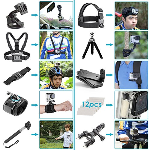 Neewer 50-in-1 Action-Kamera Zubehör-Kit für GoPro Hero 6 5 4 3+ 3 2 1, Hero Session 5 Black AKASO EK7000 Apeman SJCAM DBPOWER AKASO VicTsing Rollei - 2