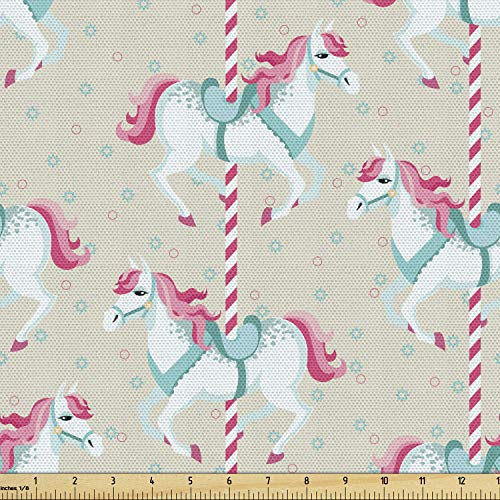 Ambesonne Toy Horse Fabric by The Yard, Merry Go Round Amusement Park Carousel Toy Ride Roundabout Children Park, Decorative Fabric for Upholstery and Home Accents, 2 Yards, Seafoam Beige