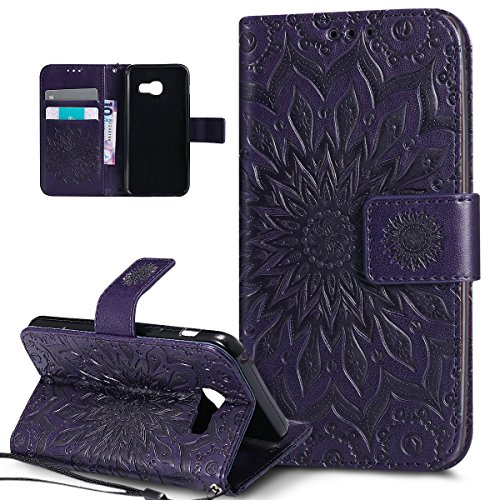 Coque Galaxy A3 2017,Etui Galaxy A3 2017,ikasus Embosser Gaufrage fleur soleil Housse Cuir PU Housse Etui Coque Portefeuille Protection supporter Flip Case Etui Housse Coque pour Galaxy A3 2017,Violet