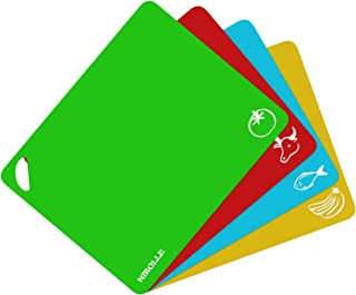 NIROLLE Extra Thick Flexible Plastic Cutting Board Mats Set, Set of 4 Colored Mats with Food Icons and Easy-Grip Handles, BPA-Free, Non-Porous,Dishwasher Safe