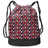 PmseK Multipurpose Mochila con Cordón for Men & Women, Abstract Bug Pattern with Many Different Designs Hearts Polka Dots Daisies Nature,Tote Sack Large Storage Sackpack for Gym Travel Hiking