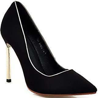 Pointed Sequin High Heels For Banquet Wedding Dress Daily (Color : Black, Size : 35)