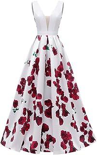 فساتين Dydsz للحفلات الموسيقية طويلة للنساء فستان حفلة مسائية مع جيوب طباعة الأزهار D295 بيضاء 8
