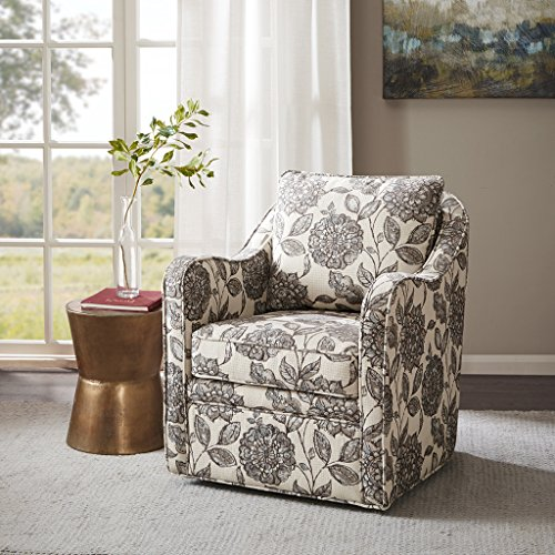 Madison Park Brianne Swivel Chair - Solid Wood, Plywood, Metal Base Accent Armchair Modern Classic Style Family Room Sofa Furniture, Multi