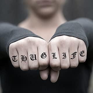 Thug Life Temporary Fake Tattoo Sticker (Set of 2) - www.ohmytat.com