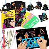 Nicmore Scratch Paper Art Set, Kids Painting Toys for 3 4 5 6 7 8 9 Year Old Girls Boys Rainbow Art Supplies Scratch Off Papers DIY Arts and Crafts Toys for Kids Birthday Party Games