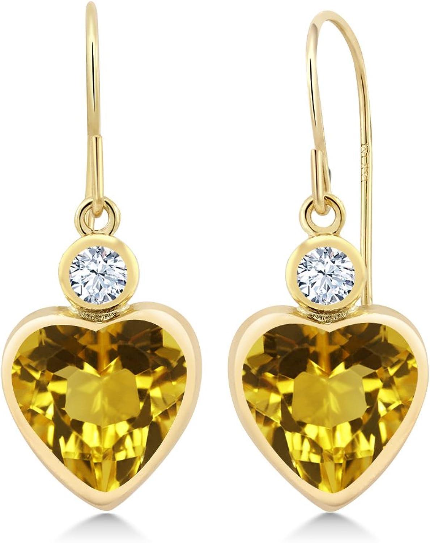 3.42 Ct Heart Shape Yellow Citrine 14K Yellow gold Earrings