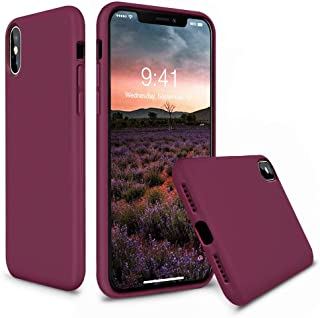 Vooii iPhone Xs Case, iPhone X Case, Soft Liquid Silicone Slim Rubber Full Body Protective iPhone Xs/X Case Cover (with Soft Microfiber Lining) Design for iPhone X iPhone Xs - Burgundy Purple