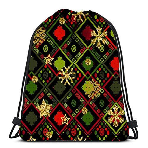 XCNGG Mochila con cordón Bolsas Patrón de Copo de Nieve Dorado Zigzag Navidad Chevron Deportes Viajes Yoga Gymsack