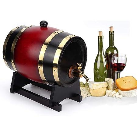 【𝐒𝐞𝐦𝐚𝐧𝐚 𝐒𝐚𝐧𝐭𝐚】 Retro Beer Barrel, Vintage Oak Barrel Wood Beer Wine Keg Bucket Dispensador Accesorios para equipos de elaboración de cerveza 3L(Vino ...