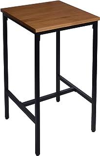 WOLTU 1 X Table de Bar Table de bistrot Table à Manger Structure en métal,Plateau en Bois Massif,66x66x110cm (LxPxH) Chêne...