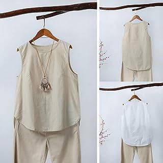Tickas Women Blouse,Fashion Women Irregular Blouse Plus Size Tank Tops Casual Cotton Linen Sleeveless Solid Summer Tee Tunic Basic Tops Khaki/White