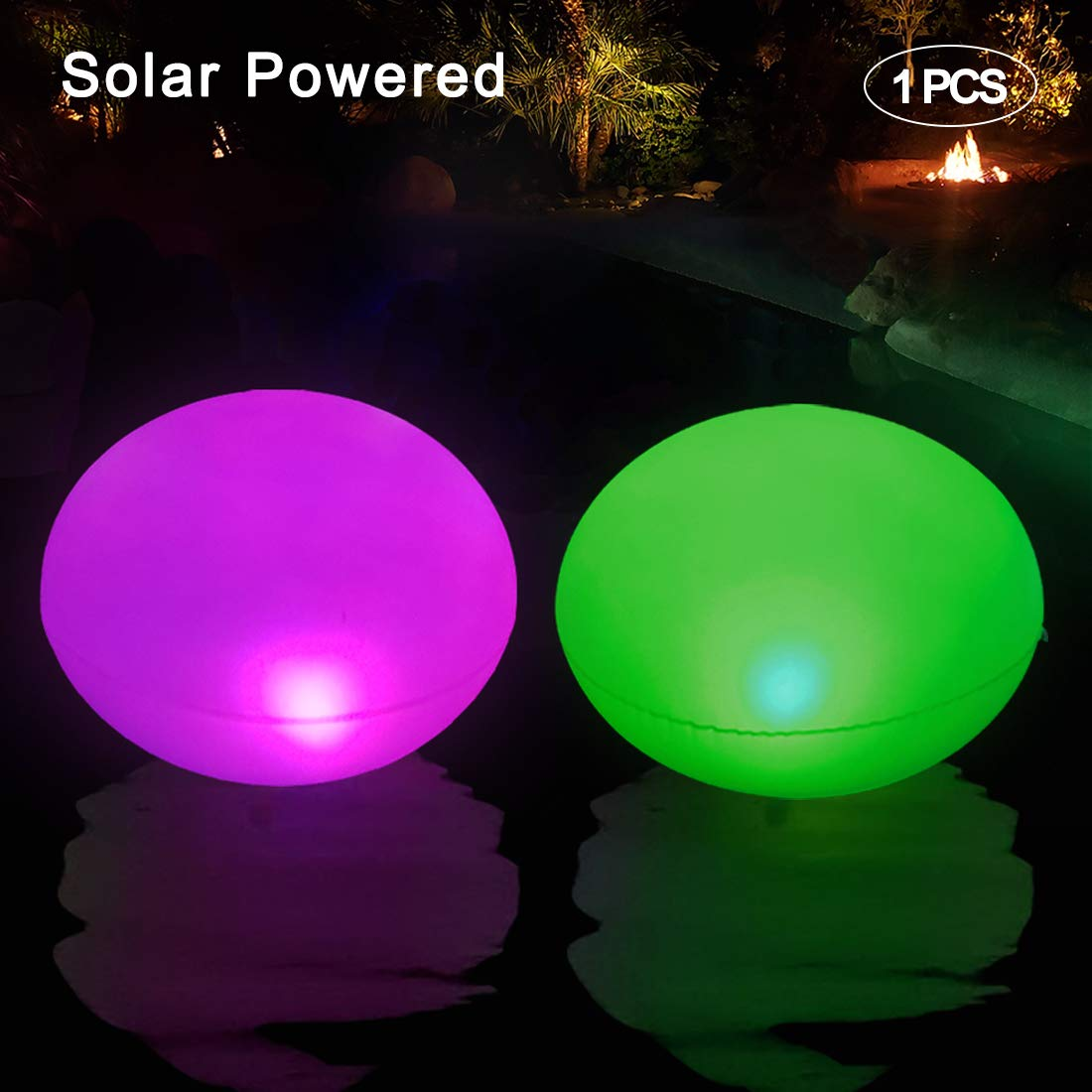 Luces Solares Flotante e Inflable, Luz LED para piscina, IP68 Impermeable Luz Solar de Jardín, luz LED Cambia Color al Aire Libre Decoración para Estanques, Boda, Fiesta, Playa, Césped, Camino 1 PCS: