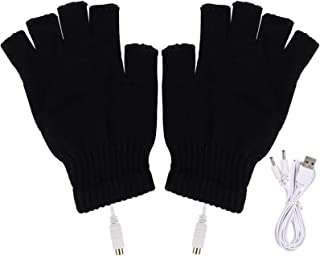 手袋 USB接続で加熱 あったか手袋 パソコン作業 PC モバイルバッテリーなど 洗えるUSBヒーター手袋 防寒対策 男女兼用 温かい ヒーター内蔵 ハンドウォーマー(ブラック)