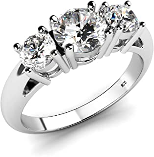 Metal Factory Sterling Silver 925 Cubic Zirconia CZ 3 Stone Engagement Ring