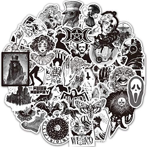 LZWNB Pegatinas de Grafiti góticas en Blanco y Negro, Estuche con Ruedas Impermeable, portátil, monopatín, Estuche, calcomanía, Paquete de Pegatinas góticas