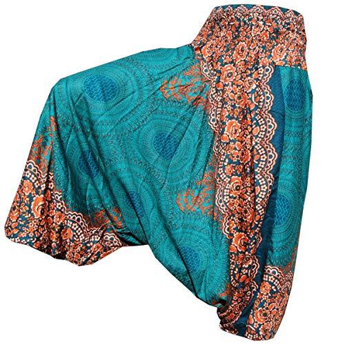 PANASIAM Aladin Pants Unisex-Modell Peacock \'V\' I 100{ad361781b931d540c2e553a9d325dc2a8a21a0550a0f06ccb50feb9152938d26} natürliche Viskose - angenehm weich & leicht I hochwertiger Gummibund - für dauerhaft bequemen Sitz I Haremshose